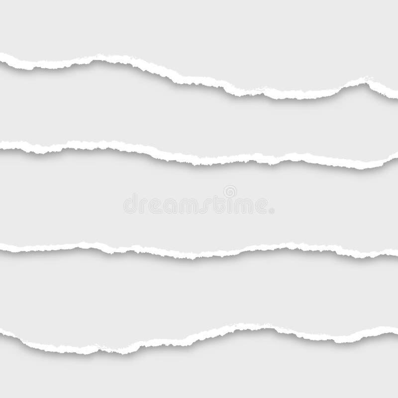 Sönderriven pappersuppsättning, illustration stock illustrationer