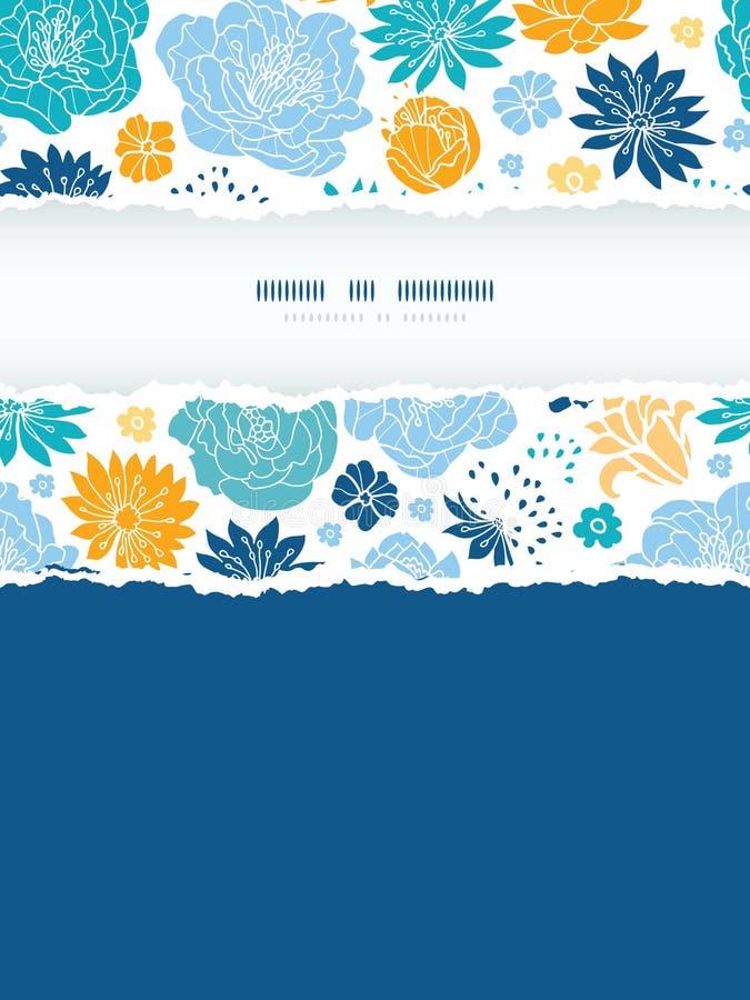 Sönderriven ram för blåa och gula flowersilhouettes royaltyfri illustrationer
