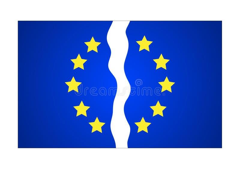 Sönderriven stjärnaflagga för europeisk union tolv också vektor för coreldrawillustration royaltyfri illustrationer