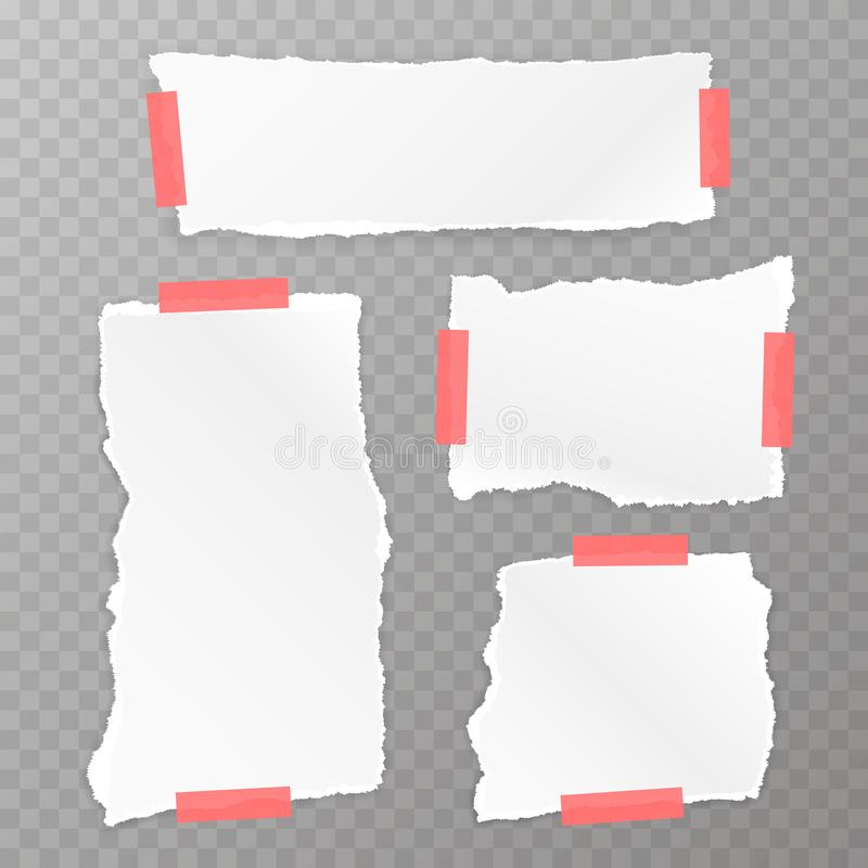 Sönderriven uppsättning för fyrkantigt papper vektor illustrationer