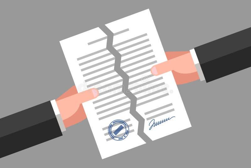 Sönderrivet dokument Annullering av avtalet eller överenskommelse stock illustrationer