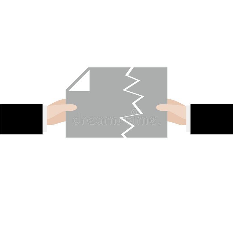 Sönderrivet dokument, annullering av avtalet eller överenskommelsetecken stock illustrationer