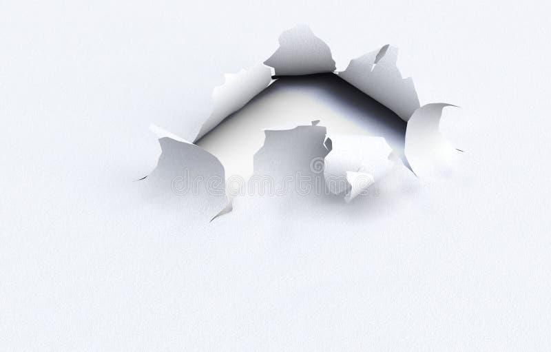 Sönderrivet hål i det kraft papperet på en vit bakgrund illustrat 3d stock illustrationer