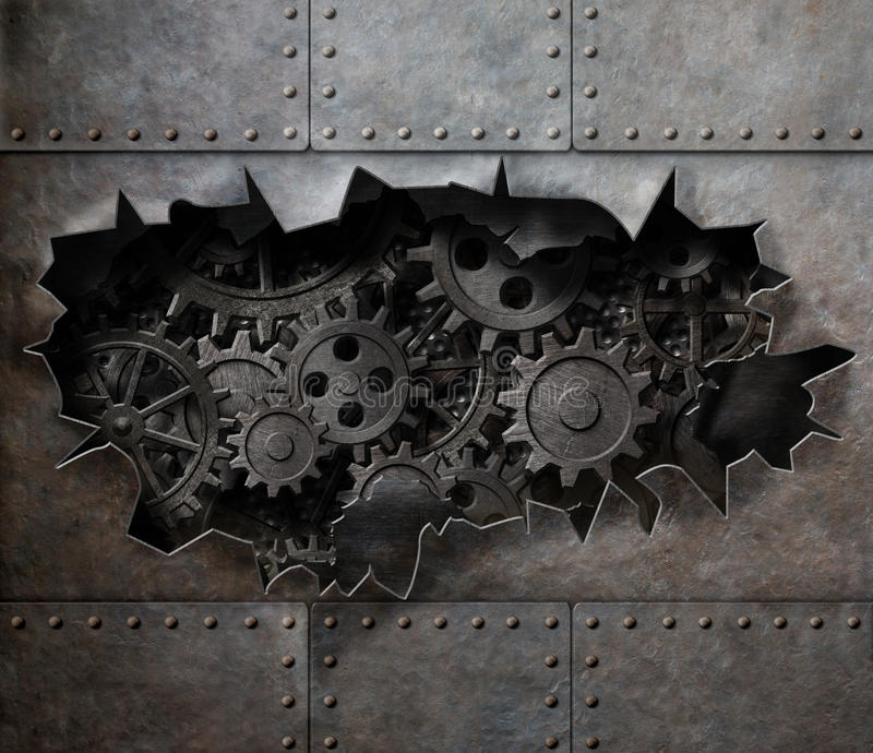 Sönderrivet hål i gammal metall med rostiga kugghjul och kuggar royaltyfri fotografi