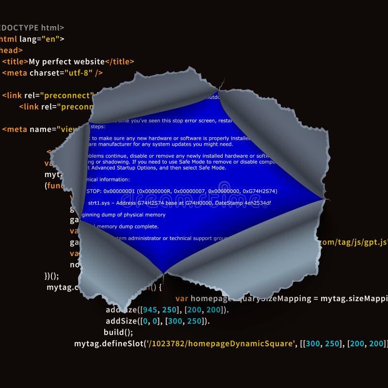 Sönderrivet hål i invecklad programkod och BSOD-fel stock illustrationer
