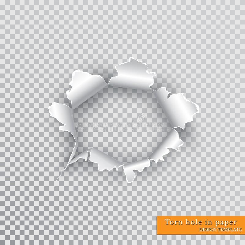 Sönderrivet hål i papper med rev sönder kanter med skugga på genomskinlig bakgrund Grafiskt begrepp för din design vektor illustrationer