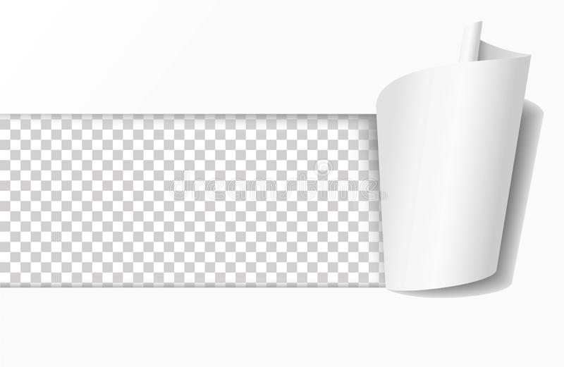 Sönderrivet hål i vitbok Realistisk vektorillustration stock illustrationer