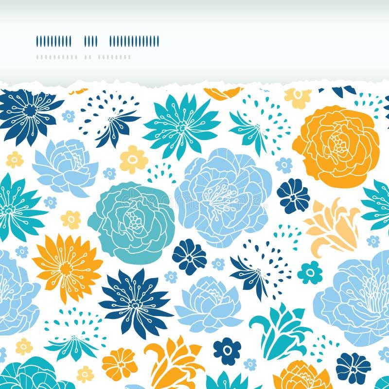 Sönderrivet horisontal för blått- och gulingblommakonturer stock illustrationer
