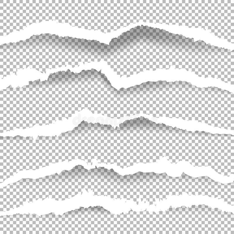 Sönderrivet papper med rev sönder kanter royaltyfri illustrationer
