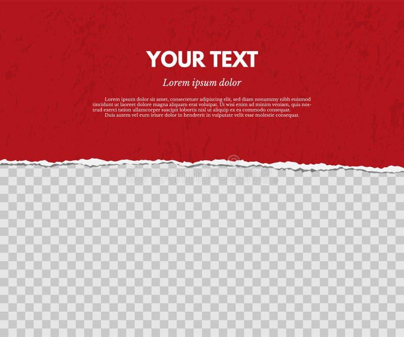 Sönderrivet papper med skugga på röd och genomskinlig bakgrund för grunge som för delstiker för design den trevliga mallen som an vektor illustrationer