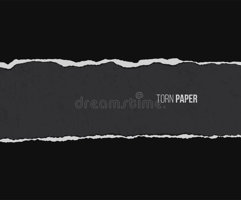 Sönderrivet papper med skugga som isoleras på svart bakgrund för grunge som för delstiker för design den trevliga mallen som anvä stock illustrationer
