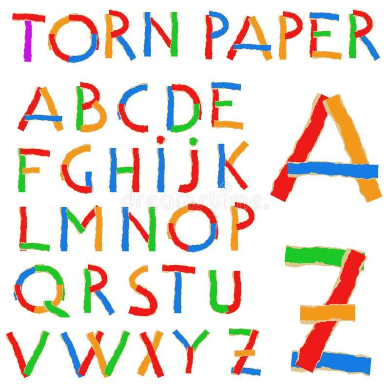 Sönderrivet pappers- och pappabc vektor illustrationer