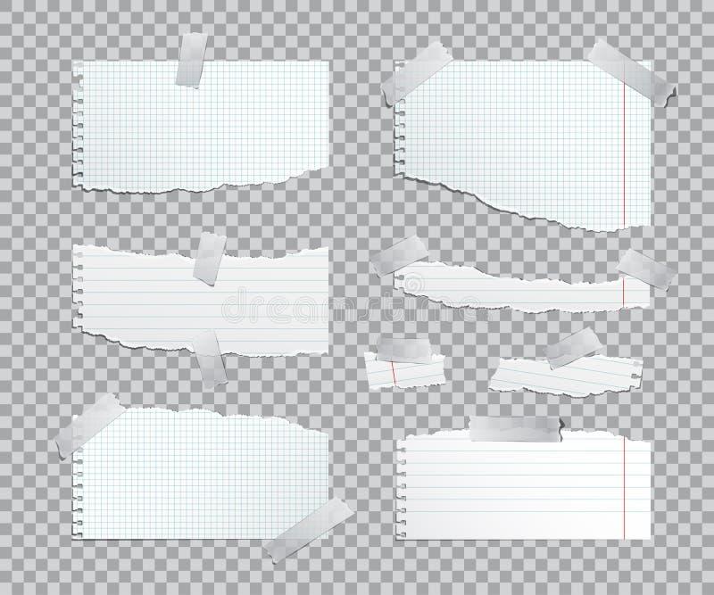 Sönderrivna förskriftsbokpappersark med tejpen också vektor för coreldrawillustration vektor illustrationer