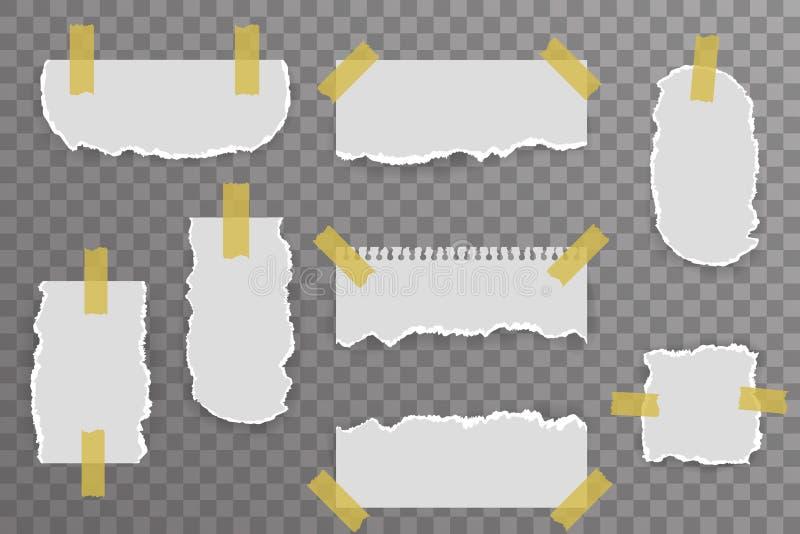 Sönderrivna pappers- anmärkningar täcker den rev sönder för bakgrundsvektorn för den realistiska modellen genomskinliga illustrat stock illustrationer