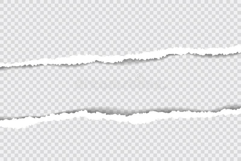 Sönderrivna pappers- kanter, sömlös horisontellt textur för bakgrund, vektor som isoleras i utrymme för annonsering, baner av web vektor illustrationer