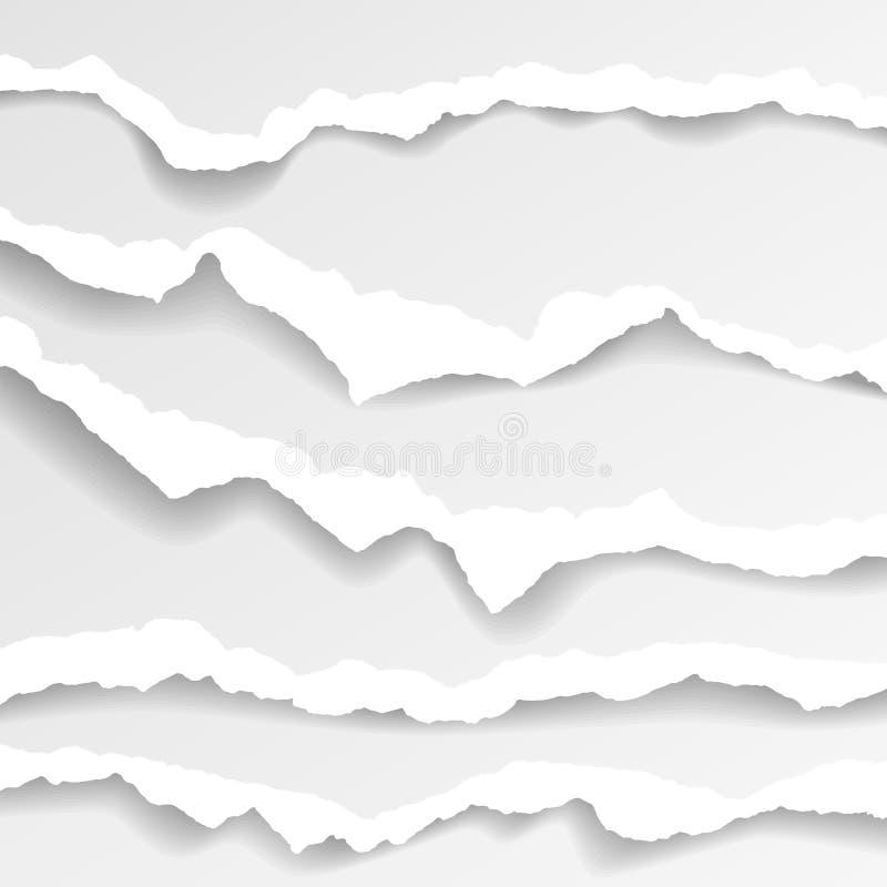 Sönderrivna pappers- kanter, sömlös horisontellt textur, vektor som isoleras i utrymme för annonsering, baner av webbsidan, gräns royaltyfri illustrationer