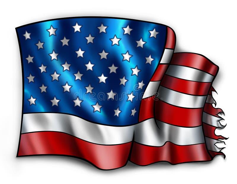 söndersliten amerikanska flaggan stock illustrationer