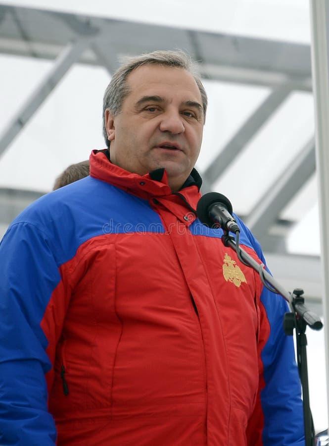 Sörja för från den ryska federationen för borgerligt försvar, nödlägen och eliminering av följder av naturkatastrofer Vladimir Pu royaltyfri bild