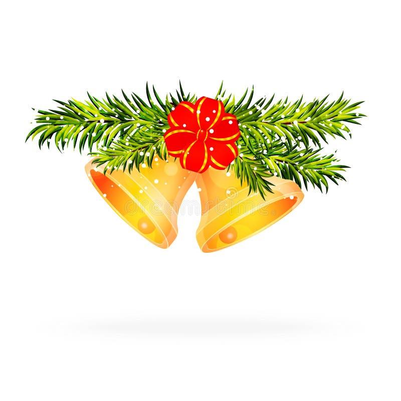 Sörja filialer med guld- julklockor och det röda bandet på whit vektor illustrationer