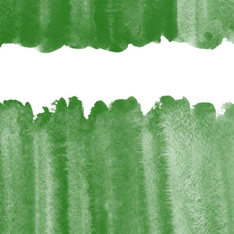 Sörja gröna akvarellgränser med grova kanter, mörkt royaltyfri illustrationer