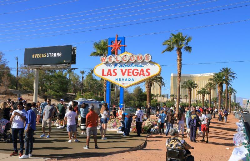 Sörja i Las Vegas efter mass som skjuter 2017 royaltyfria foton