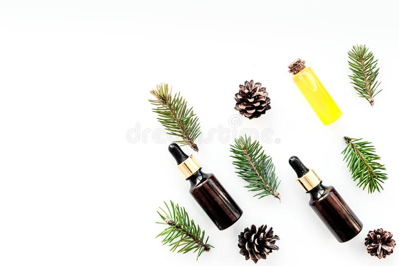 Sörja nödvändig olja i flaskor på vitt utrymme för kopian för den bästa sikten för bakgrund Modellen med sörjer filialen och kott fotografering för bildbyråer