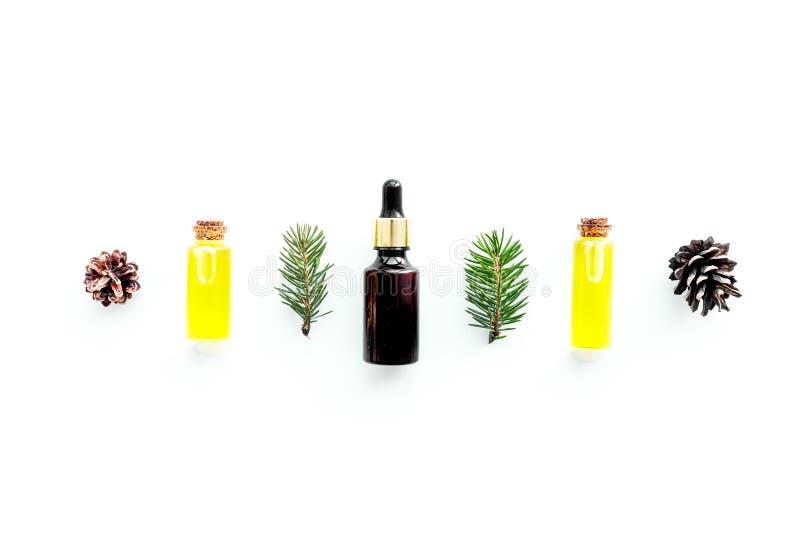 Sörja nödvändig olja i flaskor på vitt utrymme för kopian för den bästa sikten för bakgrund Modellen med sörjer filialen och kott arkivbild