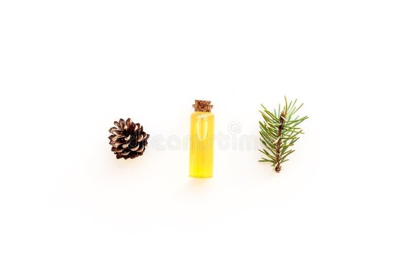 Sörja nödvändig olja i flaskor på vitt utrymme för kopian för den bästa sikten för bakgrund Modellen med sörjer filialen och kott arkivfoton