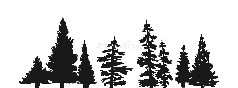 sörja silhouettetreen stock illustrationer