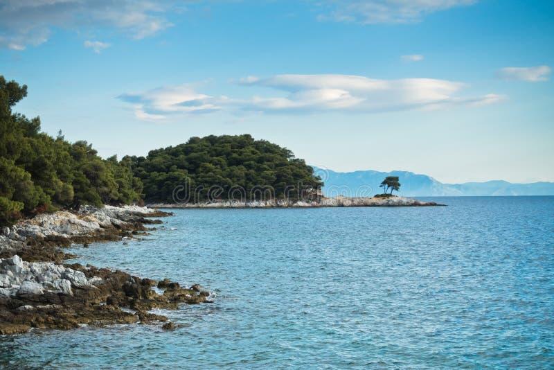 Sörja trädet på en vagga över kristallklart turkosvatten, udde Amarandos på den Skopelos ön royaltyfria foton