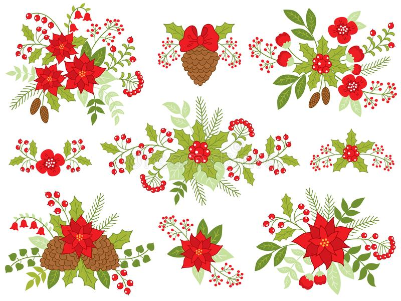 Sörjer blom- buketter för vektorjul med julstjärnan, kottar och röda bär royaltyfri illustrationer
