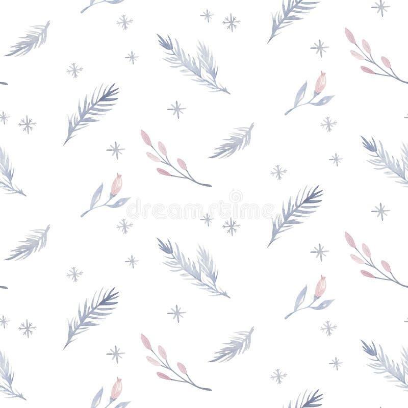 Sörjer den sömlösa julmodellen för vattenfärgen med det blom- skogträdet, snöflingor, filialer Dragen hand för pingvinvintersnö royaltyfri illustrationer