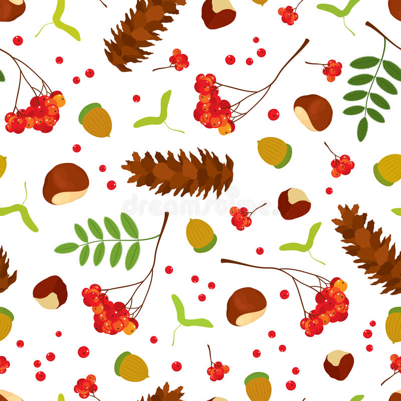 Sörjer den sömlösa modellen för skogen av ekollonar, kastanjer, lönnfrö, gruppen för rönnbäret med sidor, socker kotten på vit ba royaltyfri illustrationer