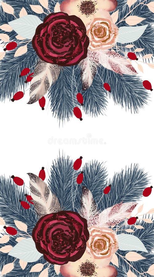 Sörjer den utdragna julillustrationen för den botaniska handen med för blommor, beigea och rosa burgundy rosor för träd, för tran stock illustrationer