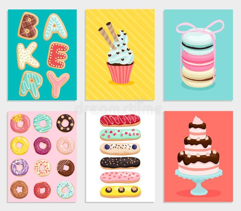 Söt bagerikortuppsättning vektor illustrationer
