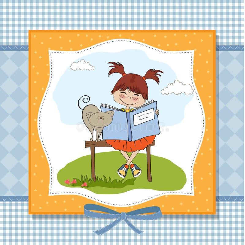 söt bokflickaavläsning royaltyfri illustrationer