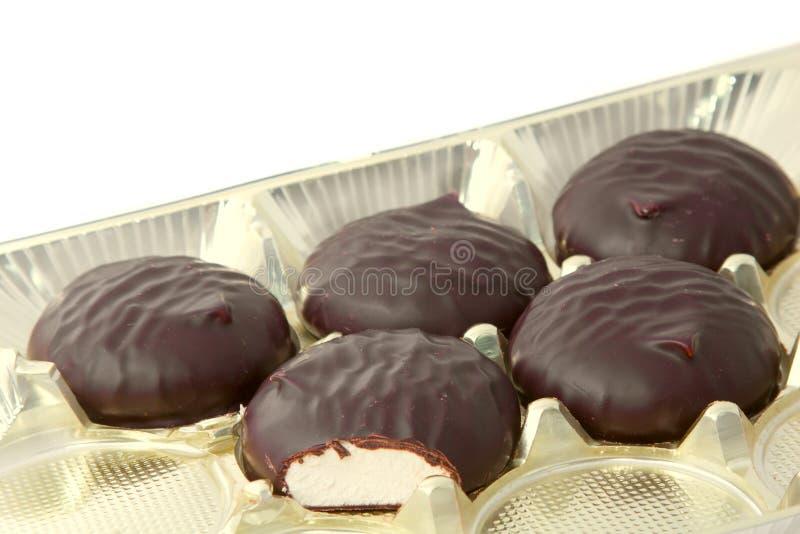 söt chokladmarshmallow arkivfoton