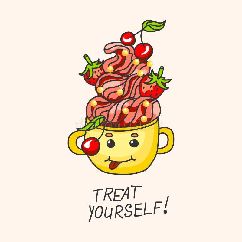 Söt efterrätt med jordgubbar, körsbär och kräm i en råna Tecknad film-stil royaltyfri illustrationer