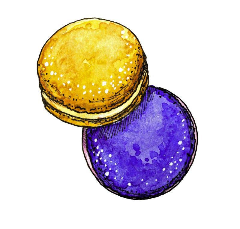 Söt efterrätt, två makron, utdragen vattenfärg för hand stock illustrationer