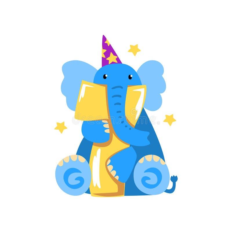 Söt elefant och nummer sju, lycklig födelsedag, årsdagnummer med den gulliga djura teckenvektorillustrationen på a royaltyfri illustrationer