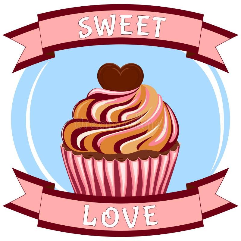 Söt förälskelseaffisch - smaklig toppning för sockermuffinhjärta stock illustrationer