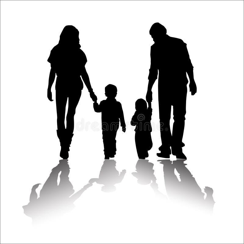 Söt familjkontur vektor illustrationer