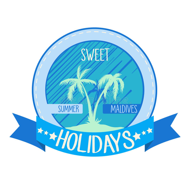 Söt ferielogo, emblem Vektorillustrationen med gömma i handflatan på ön Sommartid stock illustrationer
