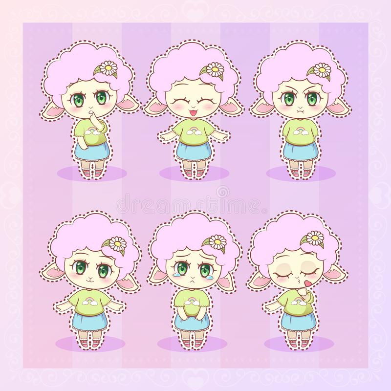 Söt flicka för lamm för tecknad film för Kitty Little gullig kawaiianime i klänning med för sinnesrörelsemaskot för långa fluffig royaltyfri illustrationer