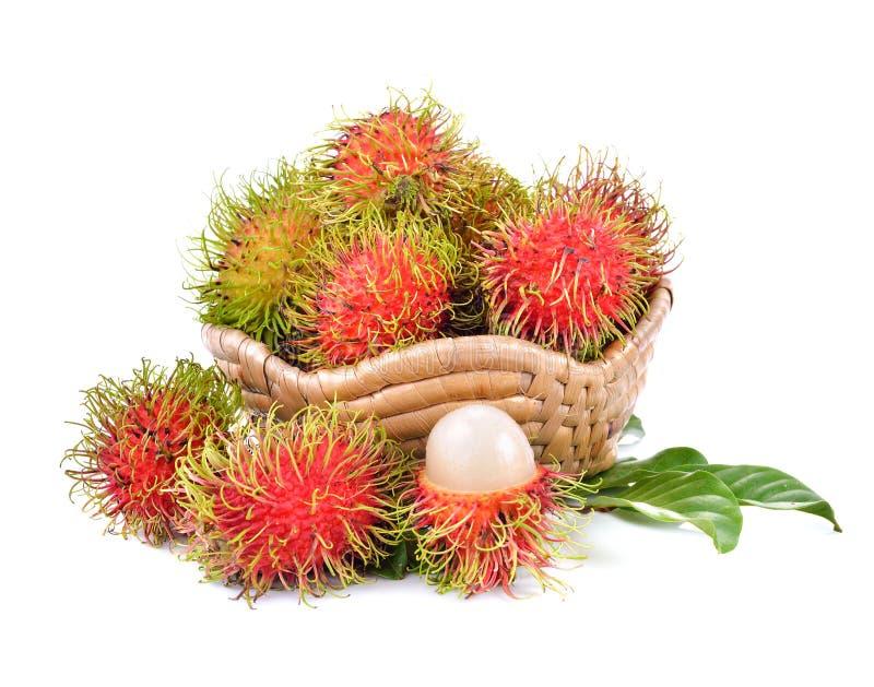 Söt frukt för ny rambutan som isoleras på vit bakgrund royaltyfria foton
