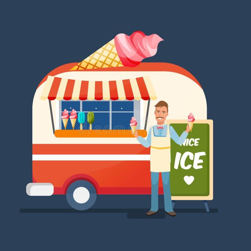 Söt glass för säljare, försäljningar på räknaren av kiosket stock illustrationer
