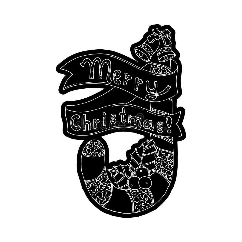 Söt godis för Xmas med typografisk design Band och önska Knockout- utskrivande klistermärke, isolerad clipart stock illustrationer