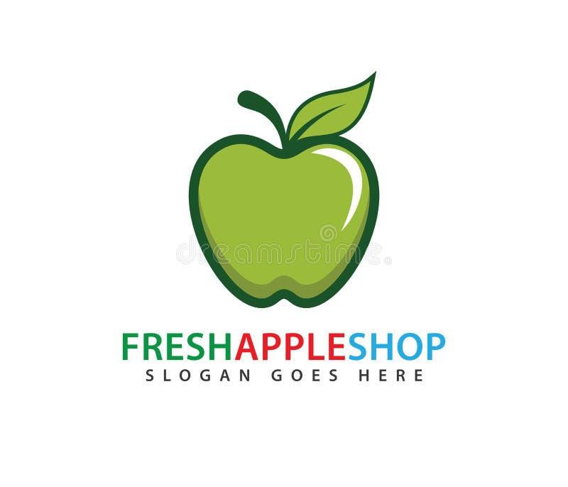 Söt grön ny design för logo för äpplefruktvektor stock illustrationer