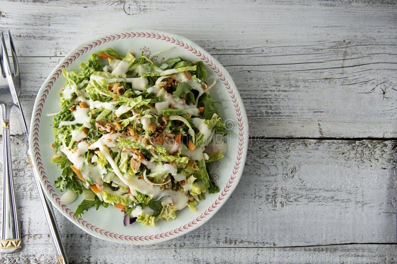 Söt grönkålsallad - sund vegetarisk sallad med kål, ägg, gräsplaner, morötter och majonnäs fotografering för bildbyråer