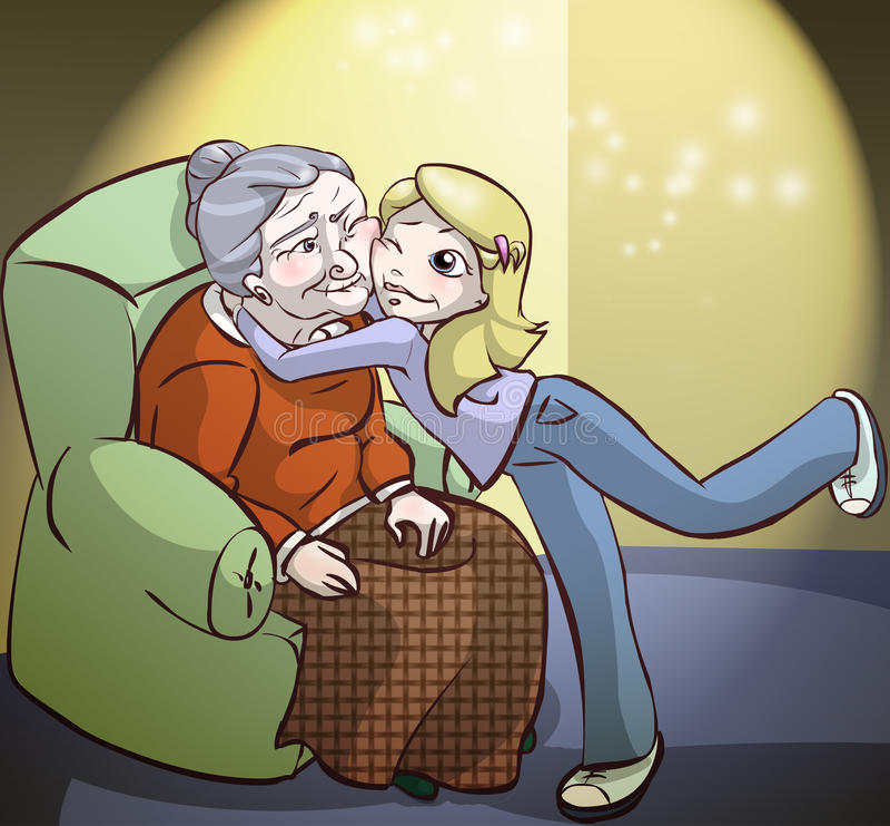 söt granny stock illustrationer